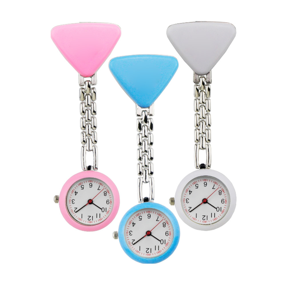 Fashion Lovely Triangle Clip-on Doctor Nurse Pocket Watch Kids Boys Girls Brooch Pendant Hanging Quartz Fob Watch Clock Relogio