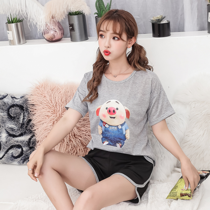 New WAVMIT Summer Women Comfortable Cute Pajama Set Girl Print Pyjama Set Short Sleeve Sleepwear Suit Women Nightshirt Sets