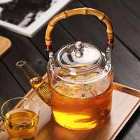 hot 1350ml Glass flower teapot heat resistant glass tea set large capacity with filter glass kettle teapot 1pcs