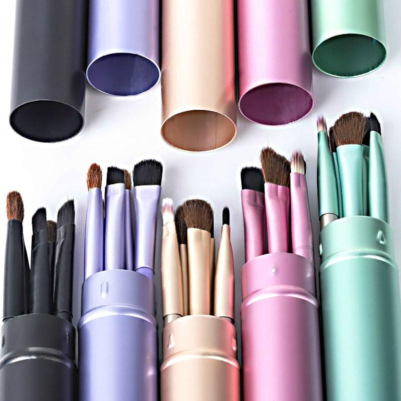New 5pcs Professional Travel Portable Mini Eye Makeup Brushes Set Smudge Eyeshadow Eyeliner Eyebrow Brush Lip Make Up Brush kit