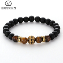 HOBBORN Trendy Natural Stone Women Men Bracelets Handmade Matte Black Onyx Tiger Eye Bead Mix Strand Crystal Ball Charm Bracelet