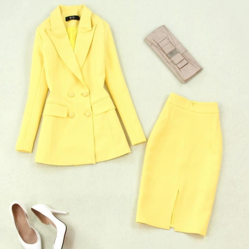 Two Piece Sets Spring Autumn New Women Yellow Double Breasted Blazer + Package Hip High Waist OL Skirt