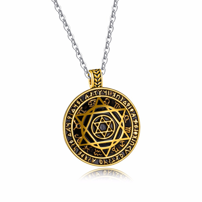 Modyle New Fashion Big Circle Pentagram Star Pendant Necklace For Men Stainless Steel Trendy Men necklace