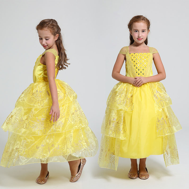 2017 Beauty and The Beast Belle Princess Dress Halloween Baby Girls Dress Children Yellow Party Costume Girls Clothing
