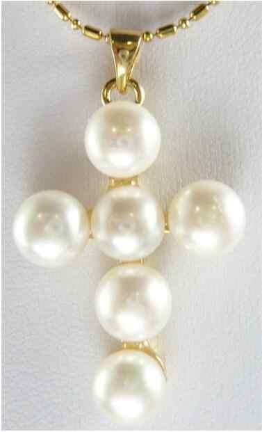 Biżuteria naszyjnik z pereł gorąca sprzedaż biały 7-8mm słodkowodne Cutlured perła krzyż wisiorek naszyjnik darmowa wysyłka