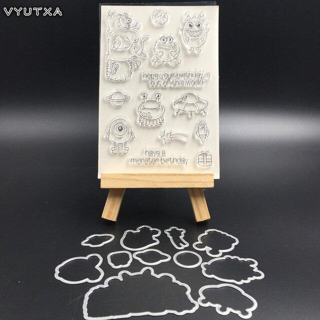 VYUTXA Halloween Monstres matrice de découpe en métal Pochoirs Timbre pour bricolage Scrapbooking/album photo Décoratif Gaufrage papier pour bricolage Carte