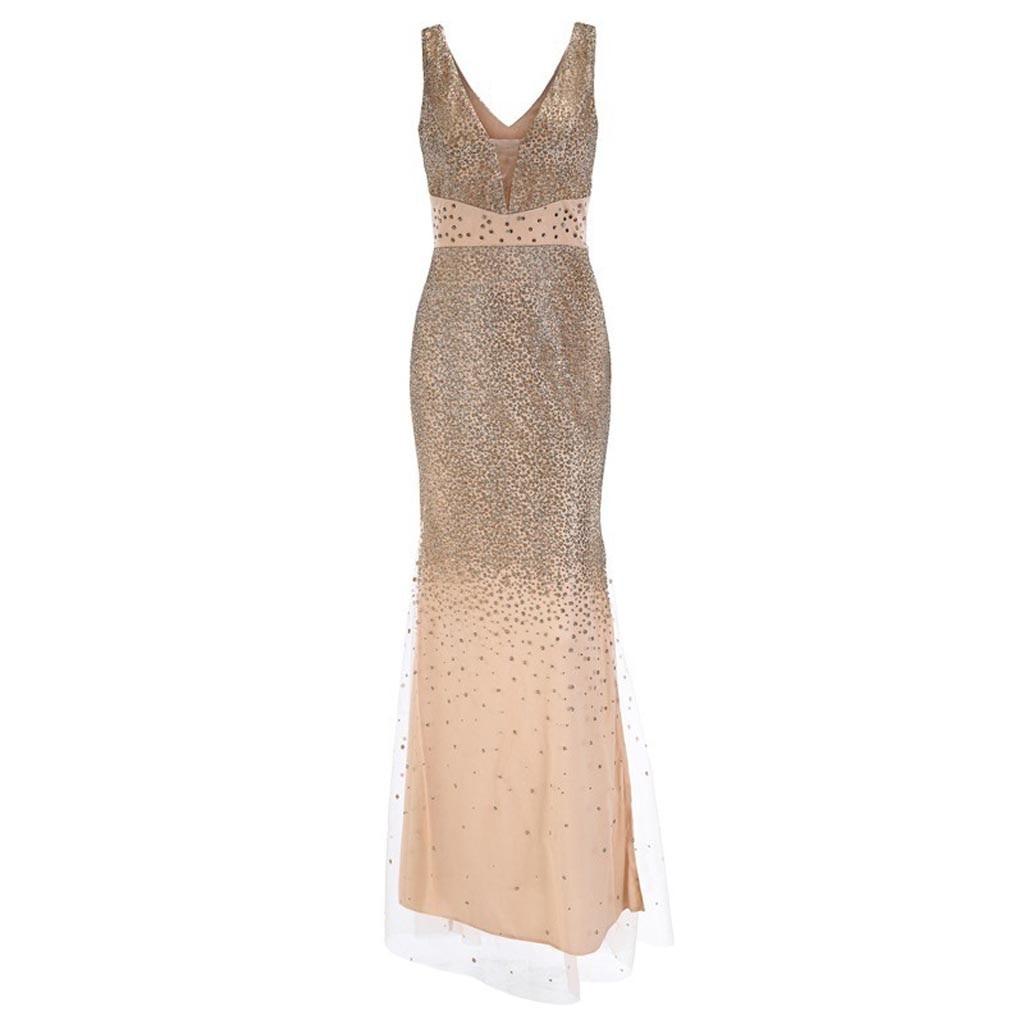 Femmes Sequin bal robe de bal Sexy or soirée col en V longue robe Patchwork sans manches gaine robe W402