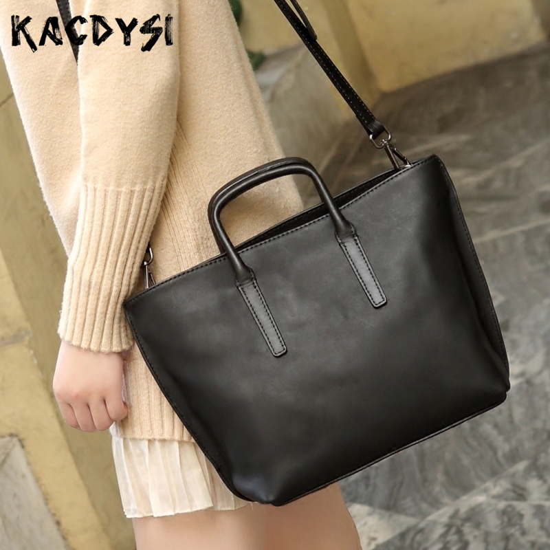 Head Layer of Leather Retro Women Top handle Bags Shoulder Bag Cowhide Simple Body Bag Quality