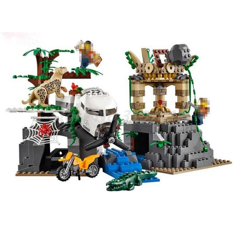 LEPIN 02061 870pcs City Series Exploration Of Jungle Model Building Block Bricks Toys Kids Chrisrmas Gifts Compatible 60161 lepin 02061 genuine city series the jungle exploration site set 60161 building blocks bricks christmas gift for children 870pcs