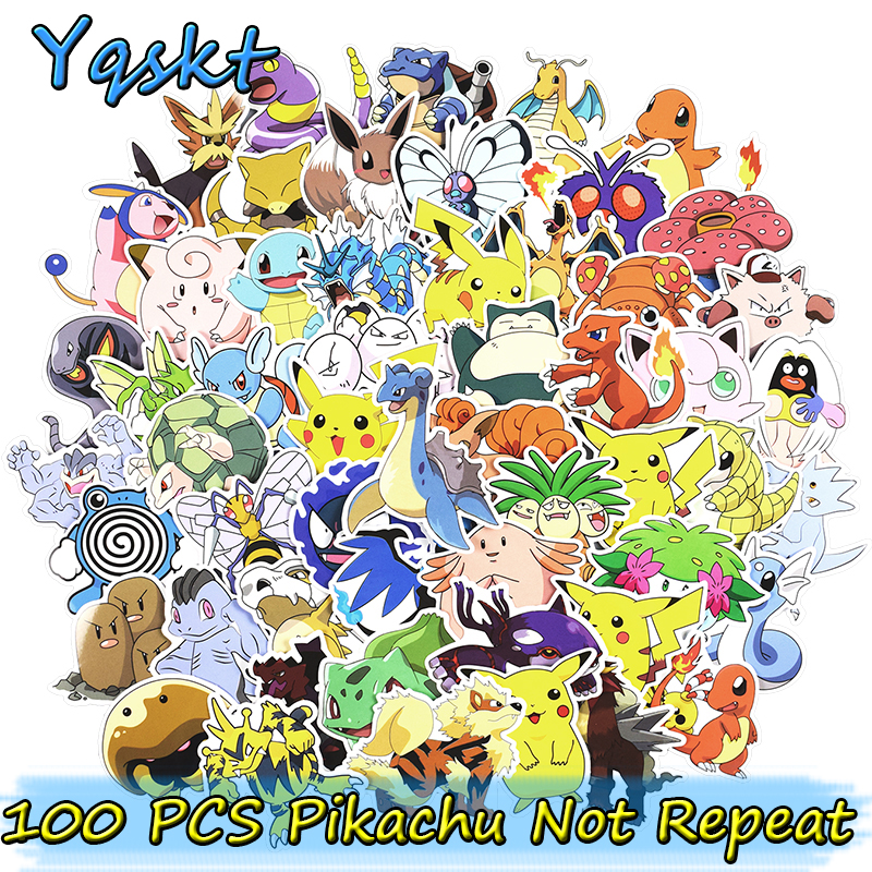 100 Pcs Mixed Cute Pikachu Stickers for Laptop Home Decor Car Styling Decal Fridge Doodle Cartoon Waterproof Sticker totoro fridge stickers fridge magnite magnetic stickers car style home decor cell decor cartoon animal action figure toys
