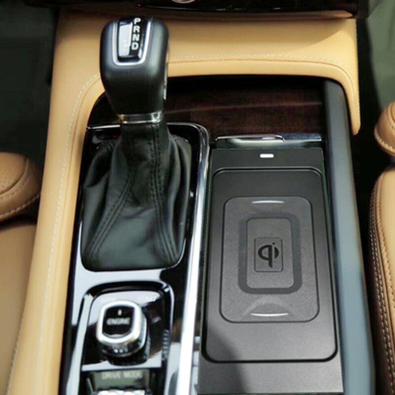 Voiture QI chargeur sans fil pour Volvo XC60 XC90 S90 V90 2018 2019 téléphone panneau de charge plaque support pour téléphone accessoires pour iPhone 8 X