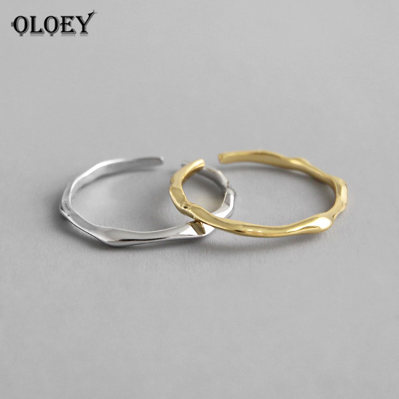 OLOEY Genuine 925 Sterling Silver Open Rings INS Cool Minimalist Finger Ring For Women Statement Adjustable Thin Jewelry YMR650