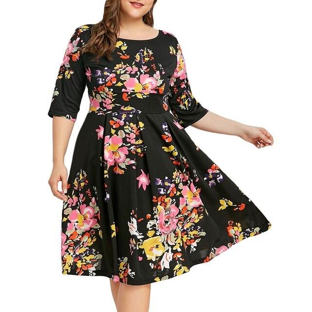 4d3baf161ad238 2018 New Fashion Summer Floral Plus Size Retro Flare Dress Women Female  Print Flower Elegant Knee Length Dress