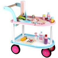 Детские Классические игрушки Спецодежда медицинская автомобиль деревянные Игрушечные лошадки играть дома Медицинские игрушки ребенок Де