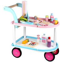 Baby Classic Toy Medical Car Wooden Toys Play House Doctor Toys Child Kids Pretend Medical Cart Set Birthdays Gift