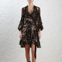 100% Silk black floral print long sleeve women elegant ruffle wrap dresses and slip 2 pcs set with belt