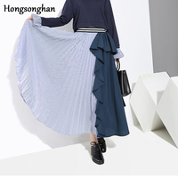 Hongsonghan Pleated skirt for autumn winter new original Korean women's chic style ruffles high waisted splicing chiffon skirts
