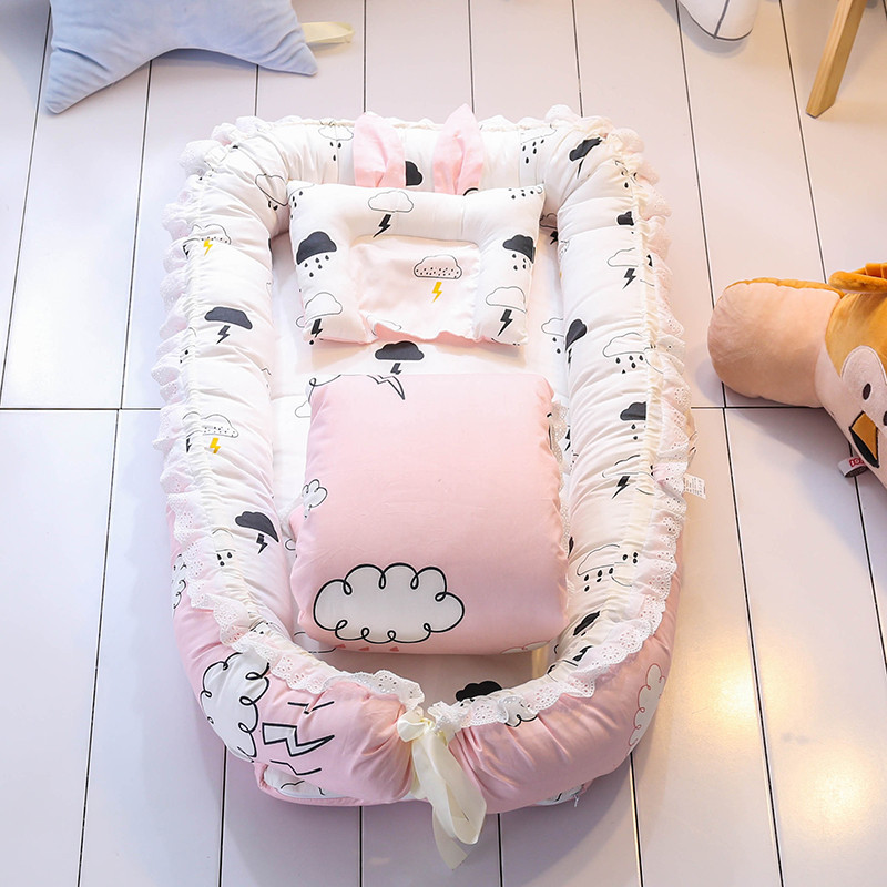Baby Stereotypes Infant Newborn Anti Rollover Mattress Sleeping Bed Portable Cribs Soft Pillow Removable Washable Isolation Bed