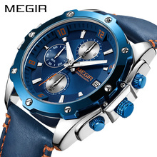MEGIR Chronograph Men Watch Relogio Masculino Blue Leather Business Quartz Watch Clock Men Creative Army Military Wrist Watches megir original quartz watches men chronograph wristwatches top brand business leather men military watch relogio masculino 5005