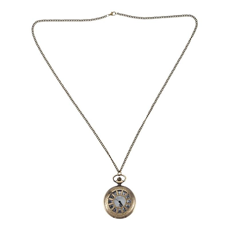 Vintage Queen Wheel Classical Creative Bronze Flip Character Men'S And Women'S Pendant Necklace Pocket Watch