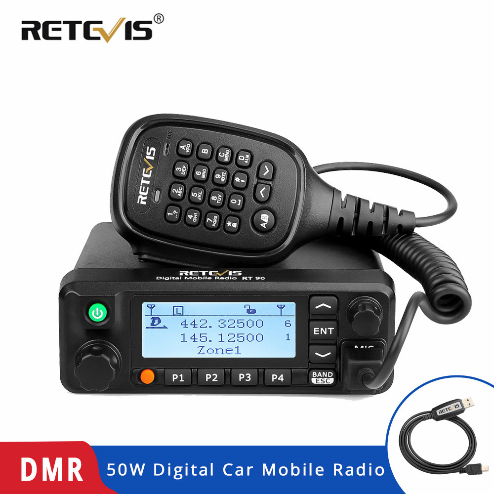 Retevis RT90 DMR Digital Mobile Two Way Radio Car Walkie Talkie Transceiver 50W Dual Band Dual Time Slot Ham Amateur Radio+CableRetevis RT90 DMR Digital Mobile Two Way Radio Car Walkie Talkie Transceiver 50W Dual Band Dual Time Slot Ham Amateur Radio+Cable