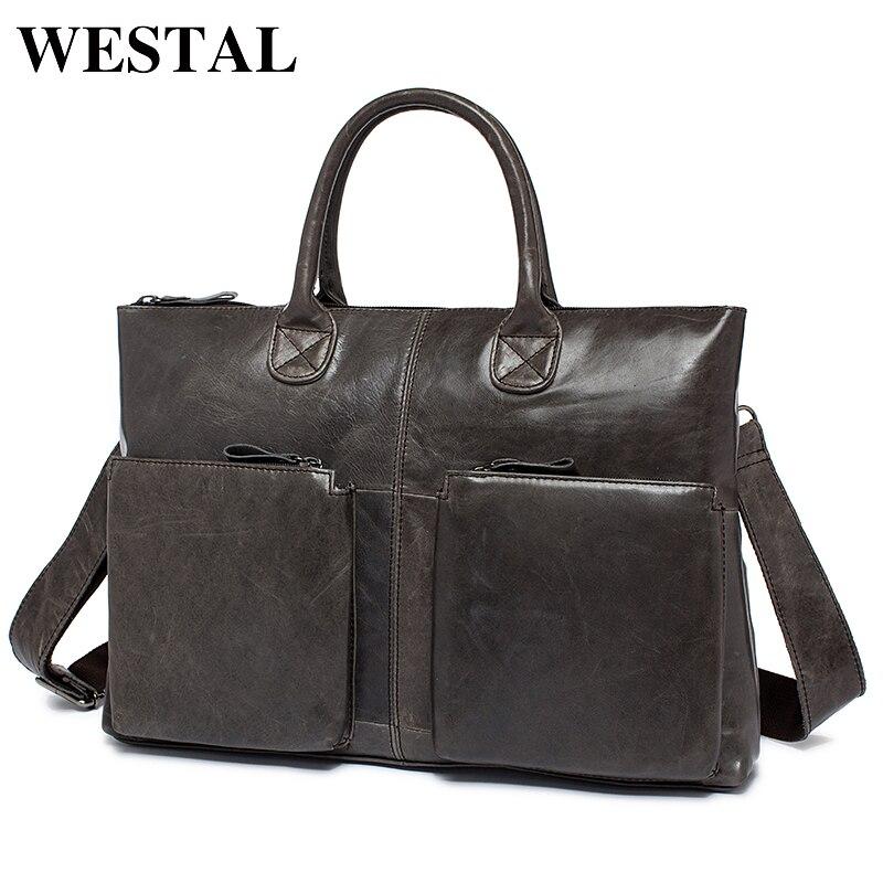 WESTAL NEW Simple Fashion Business Men Briefcases Genuine Leather Laptop Bag Casual Man Bag Briefcase Shoulder