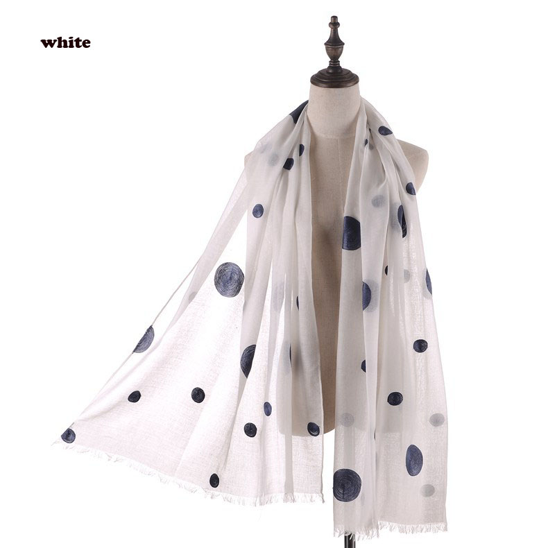 2016 Newest Women Polka Dot Embroidery Fringe Quality TR Cotton Scarf Shawls Wraps Hijabs 11Colors 10pcs/lot
