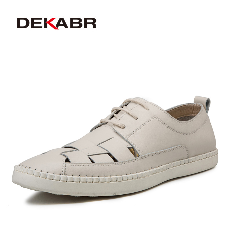 DEKABR Summer Men Hollow Genuine Leather Casual Oxford Dress Shoes Lace Up Flats Male Casual Leather Flats Size Plus 38-47
