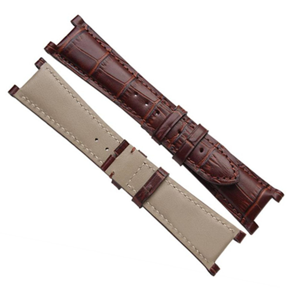 25X12mm Recess Cowhide Leather watch strap band watchband For Ham For nautilus Series Clasp Size is 18mm in Watchbands from Watches