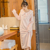 Nightgowns Women High Quality Trendy Kawaii Warm O Neck Ladies Polka Dot Womens New All match Pink Sweet Winter Casual Sleepwear