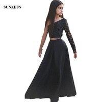 Jedno Ramię Z Długim Rękawem Dzieci Czarny Wieczór Suknie Flower Girl Dresses Satin Pageant Sukienki Glitz Vestidos De Daminha S1514