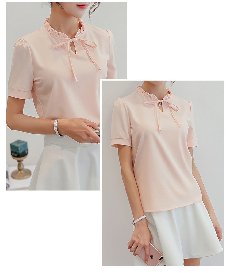 Summer White Blouse 2017 New Fashion Women Short Sleeve Shirts Slim Casual Tops Elegant Lace Up Chiffon Blouses Blusas SF261 8
