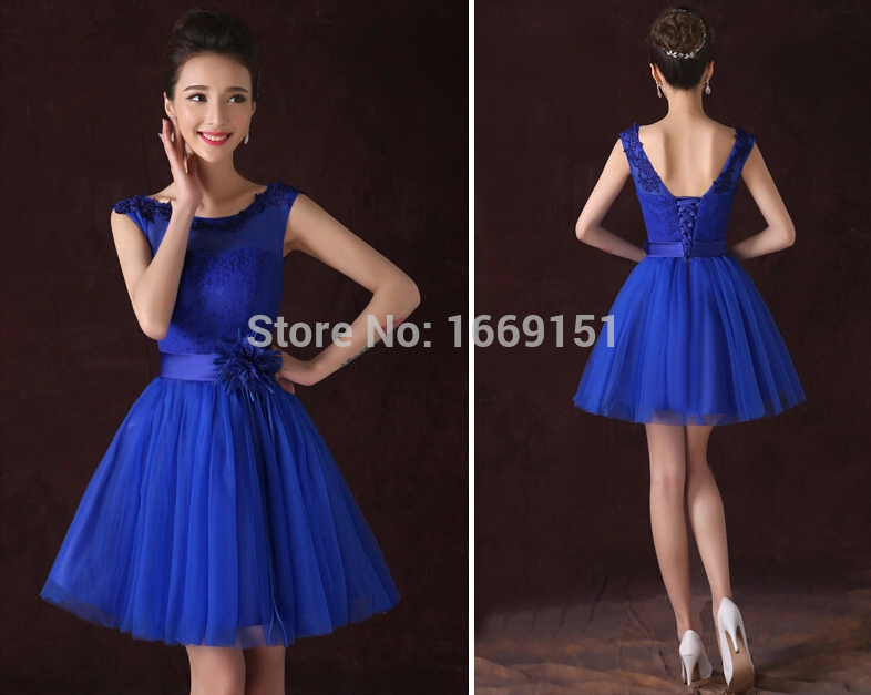 Vestidos de noche cortos azul electrico