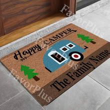 Happy Camper Family Name Personalized Custom Outdoor Indoor Doormat Floor Door Mat Bathroom Kitchen Decor Area Rug for Entrance wood christmas gift pattern indoor outdoor area rug
