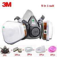 3M 6200 Halbe Gesicht Maske 9 in 1 set 6001CN Filter Spray Malen Atemschutz Gas Maske Arbeit Sicherheit Atem staubdicht Chemische Maske