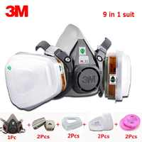 3M 6200 Half Face Mask 9 in 1 set 6001CN Filter Spray Paint Respirator Gas Mask Work Safety Breath Dustproof Chemical Mask