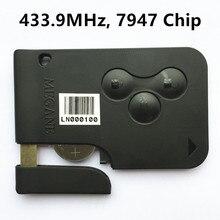Tarjeta Inteligente Dominante alejada 433 MHz para RENAULT MEGANE 3 Botones con la Viruta PCF7946 Alarma de Coche de Entrada Sin Llave Fob