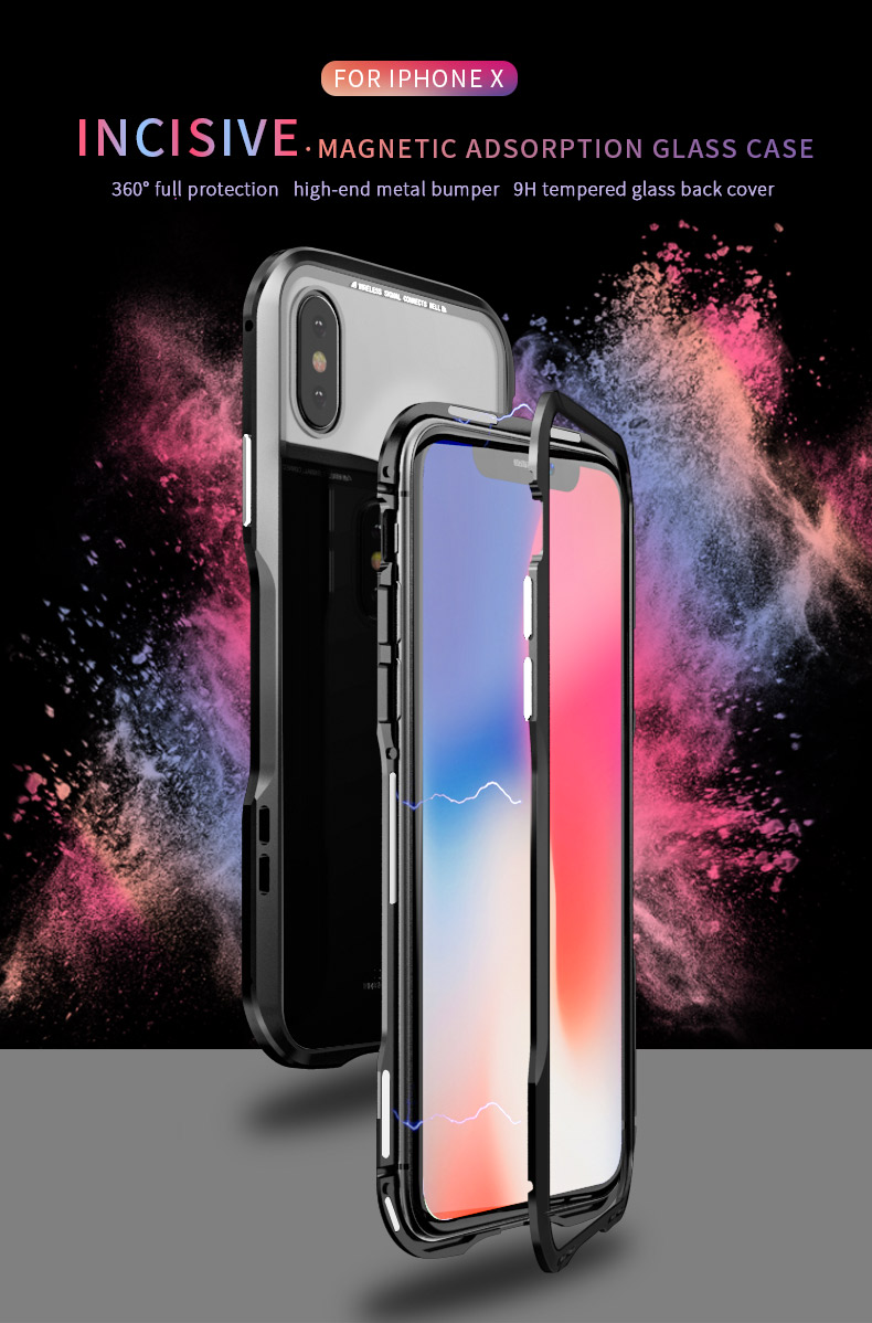 For iPhone X Magnetic Adsorption Cases Shockproof Metal Bumper (1)