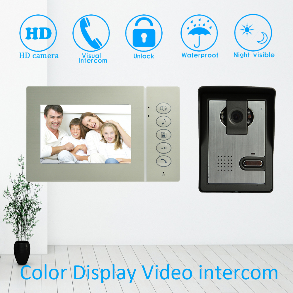 4 Color LCD Screen Video Door Phone Door Bell Home Garden Door Intercom System IR Night  ...