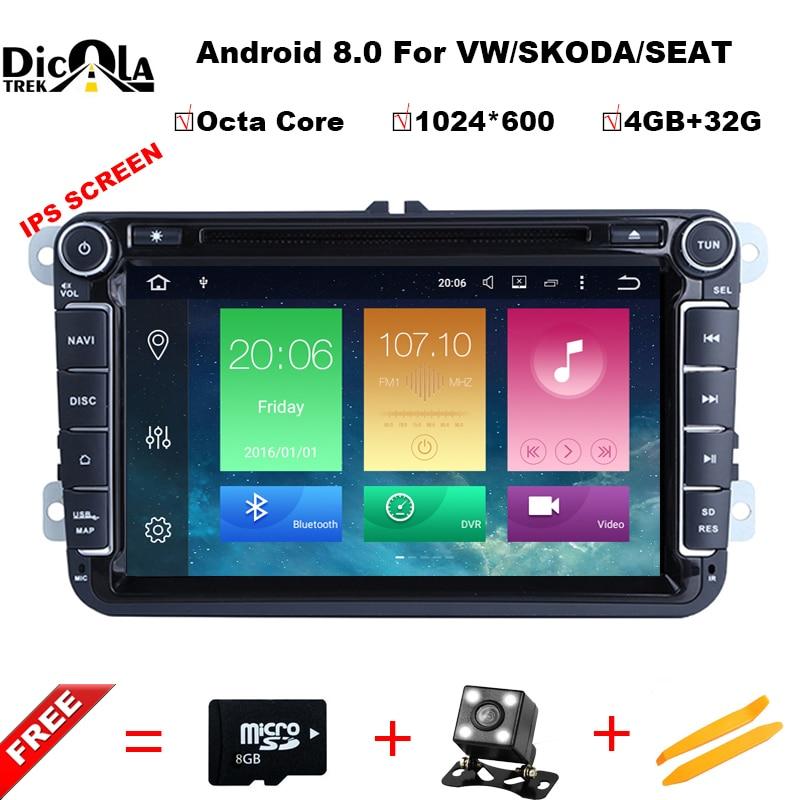 Octa Core 2 Din 8 pouce octa base Android 8.0 vw voiture dvd pour Polo Jetta Tiguan passat b6 cc miroir lien wifi Radio CD au tableau de bord