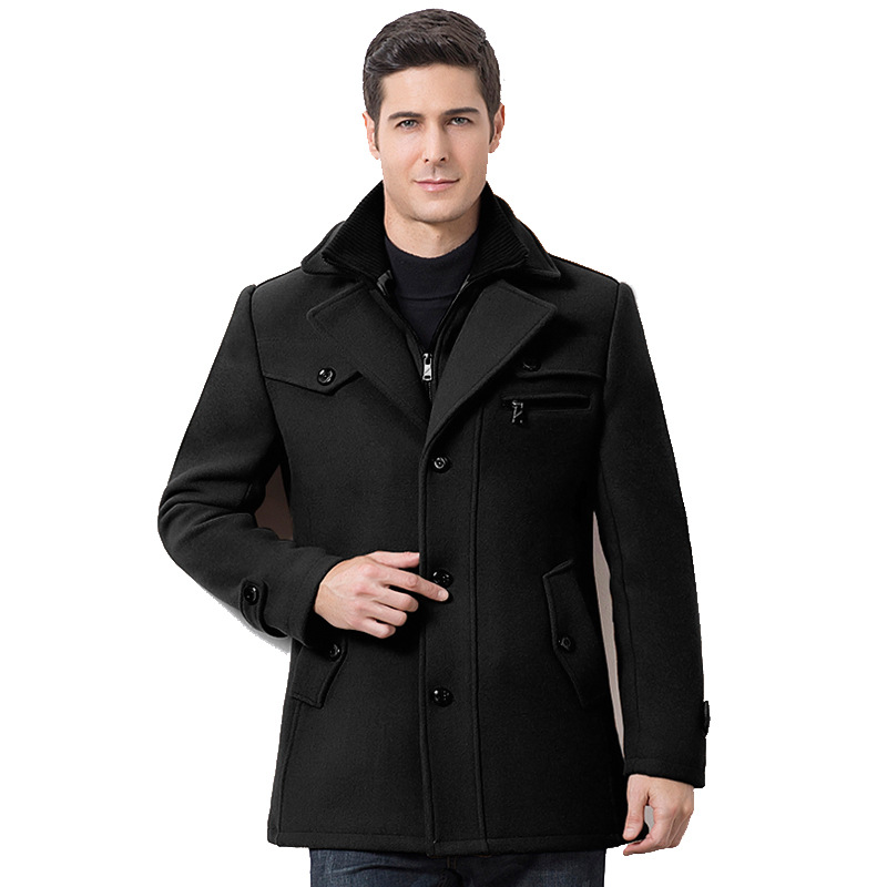 Winter Men's Casual Wool Trench Coat Fashion Business Medium Solid Thicken Slim Windbreaker Overcoat Jacket Male Plus Size 5XL 1