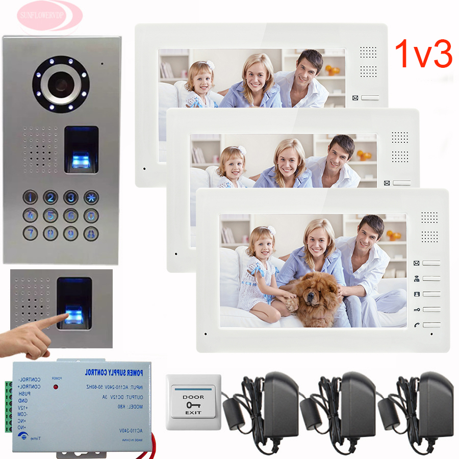 SUNFLOWERVDP Video Intercom Kit For A Private House Camera Doorbell Fingerprint Code Unlock 7 Wired Video