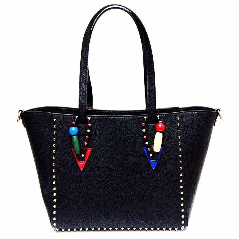 2017 new European and American fashion rivets large package Tuo Tuo package handbags large package simple students european and american 2017 new lychee grain 100
