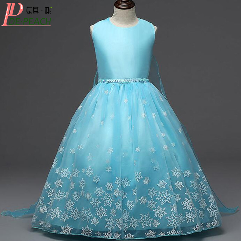 2017 Summer Elsa Princess Girls Dresses Costume Children Party Fantasia Vestidos Infants Dress Christmas Anna Kids Cosplay Dress children anna elsa princess birthday dresses cosplay party fancy costume with cape christmas dress child blue red clothes kids