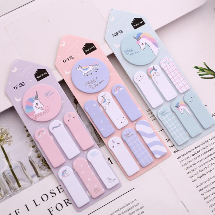 Kawaii Unicorn Memo Pad N Times Sticky Notes Escolar Papelaria School Supply Bookmark Label colorful guestbook gradient color memo pad n times sticky notes escolar papelaria school supply bookmark label