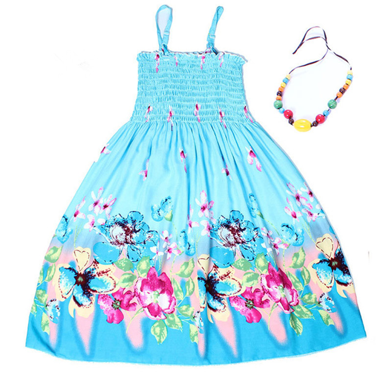 Summer Bohemian Style Girls Dress Floral Shoulderless Beading Necklace Sundress For Girls Beach Dress Clothes Vestido Infantil