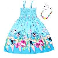 Summer Bohemian Style Girls Dress Floral Shoulderless Beading Necklace Sundress For Girls Beach Dress Clothes Vestido