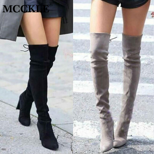 Artı Boyutu Moda Kadın Kış Uyluk Yüksek Boots Faux Süet Deri Katı Yüksek Topuklu Kadın Diz Üzerinde Ayakkabı Damla nakliye