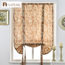 Luxury jacquard short curtains for kitchen roman blinds thick curtains ready made rod pocket European style curtain door brown(China)
