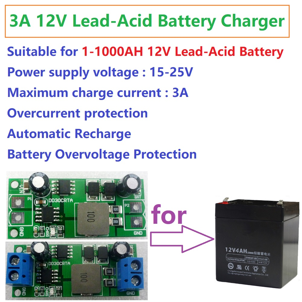 3A    12V    1 1000AH Lead Acid Battery accumulator storage cell Charger Charging for UPS Car Solar